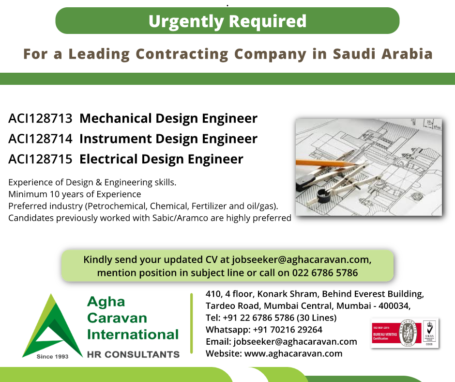 Urgently Required #Design #Engineers in Saudi Arabia by a