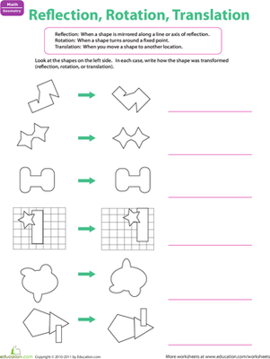Reflection Rotation Translation Worksheet Education Com Reflection Math Transformations Math Translations Math