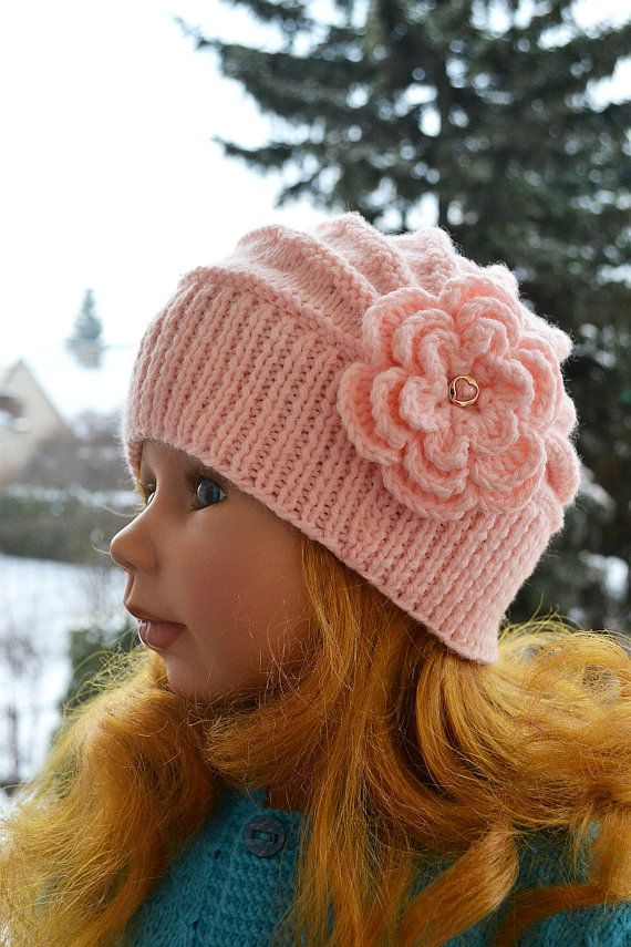 Knitted Children\'s hat cap pink color flower lovely warm cozy ...