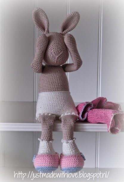 Marijntje, the bunny is blushing when showing her underwear. Designed and made by Just made with love by Antoinette