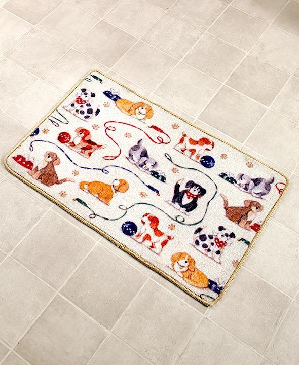 Dog Bath Rug Playing Puppies Print Bath Decor Fun Bathroom 20 X