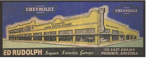 Phoenix Arizona Chevrolet Dealership Ed Rudolph 1940s Vintage