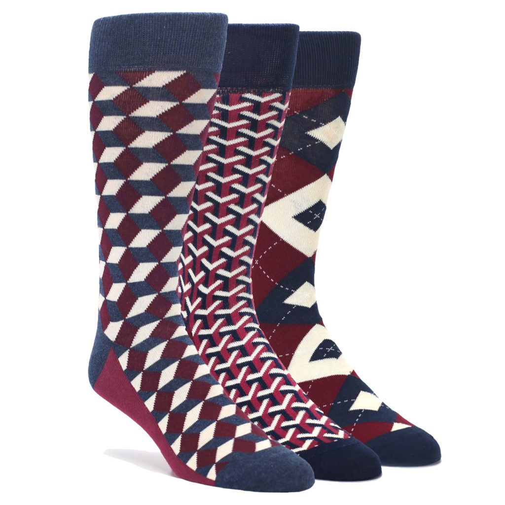 c07c2c8e4dc2 Burgundy Navy Optical Y Men s Dress Socks - Statement Sockwear ...