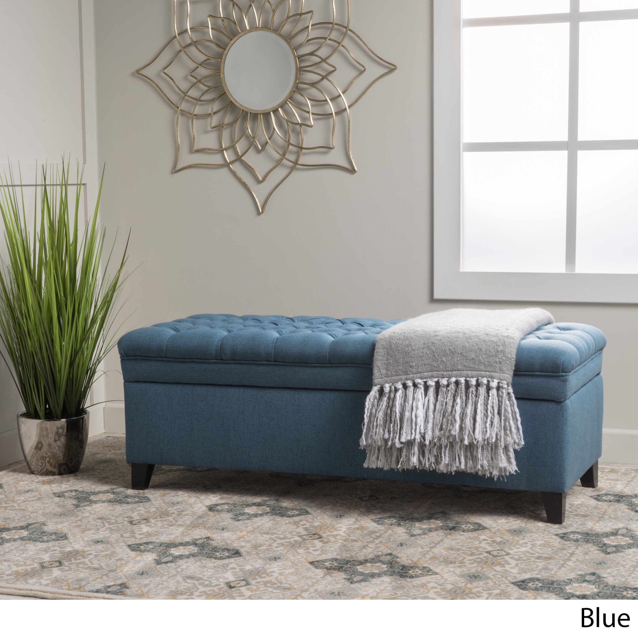 Hastings Tufted Fabric Storage Ottoman Bench By Christopher Knight Home Blue