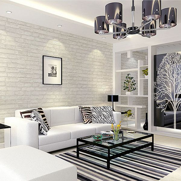 White grey real looking brick pattern wallpaper wp120 for Grey wallpaper living room ideas
