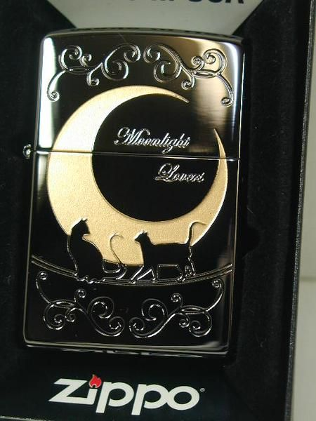 "Zippo Lighter: Moon, cats, ""Moonlight Lovers""."