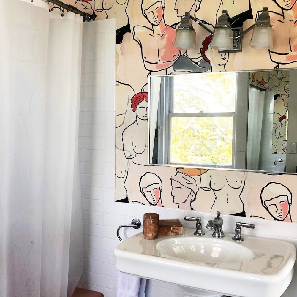 "Photo of Clever on Instagram: ""Bust-filled bathroom w/wallpaper by @workandsea 🗿 #regram"""