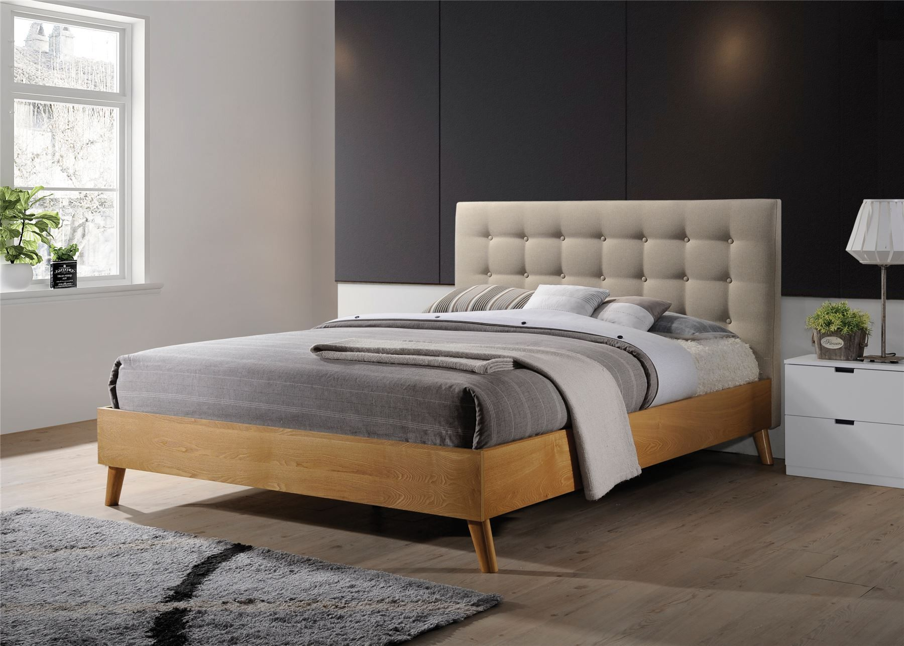 wood and upholstery bed. Gino Bed Frame Beige Fabric Oak Wood King Size Scandinavian Retro in Home  Furniture DIY Beds Mattresses Image result for modern wooden super king beds with rounded corners