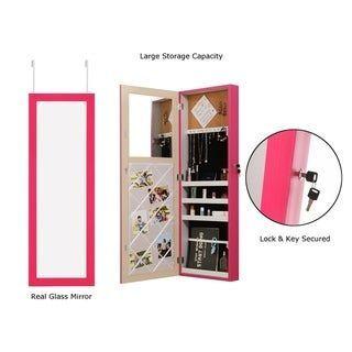 Over-the-Door Jewelry Armoire Makeup Organizer Mirror ...