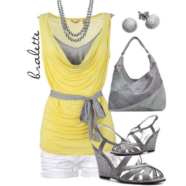 Soft Grey and Yellow with Bralette, created by amycxoxo on Polyvore