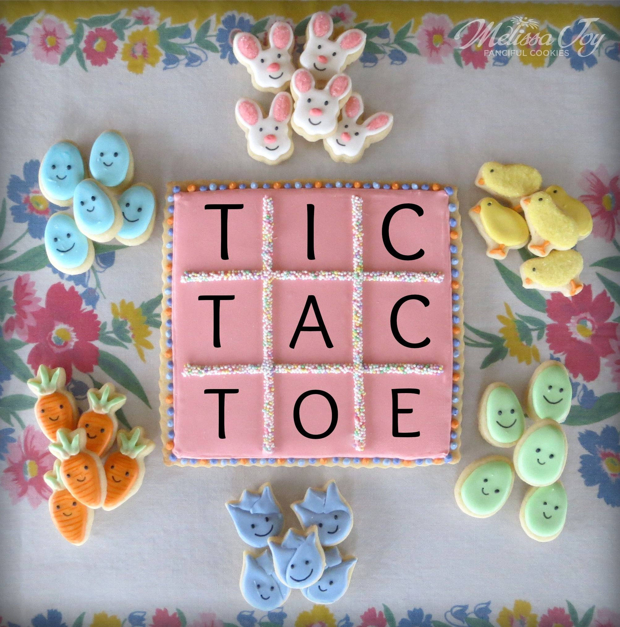 Easter Tic Tac Toe Cookies by Melissa Joy Cookies