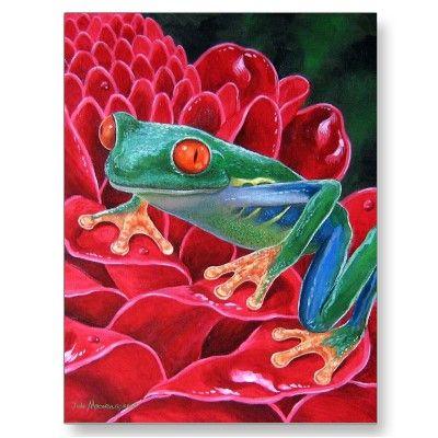 Green Frog Animal Art Painting Postcard