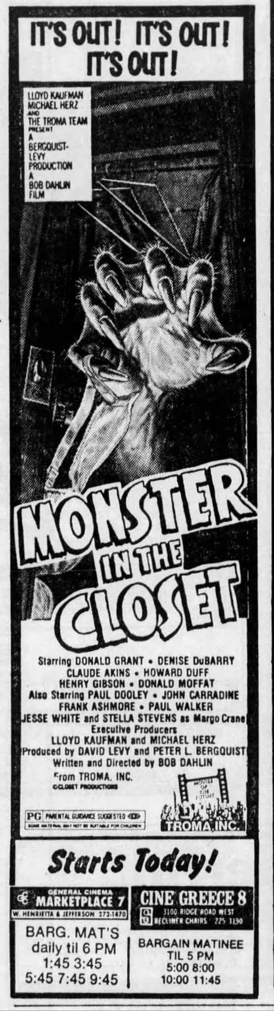 Monster in the Closet (DriveIn) Famous monsters, Horror