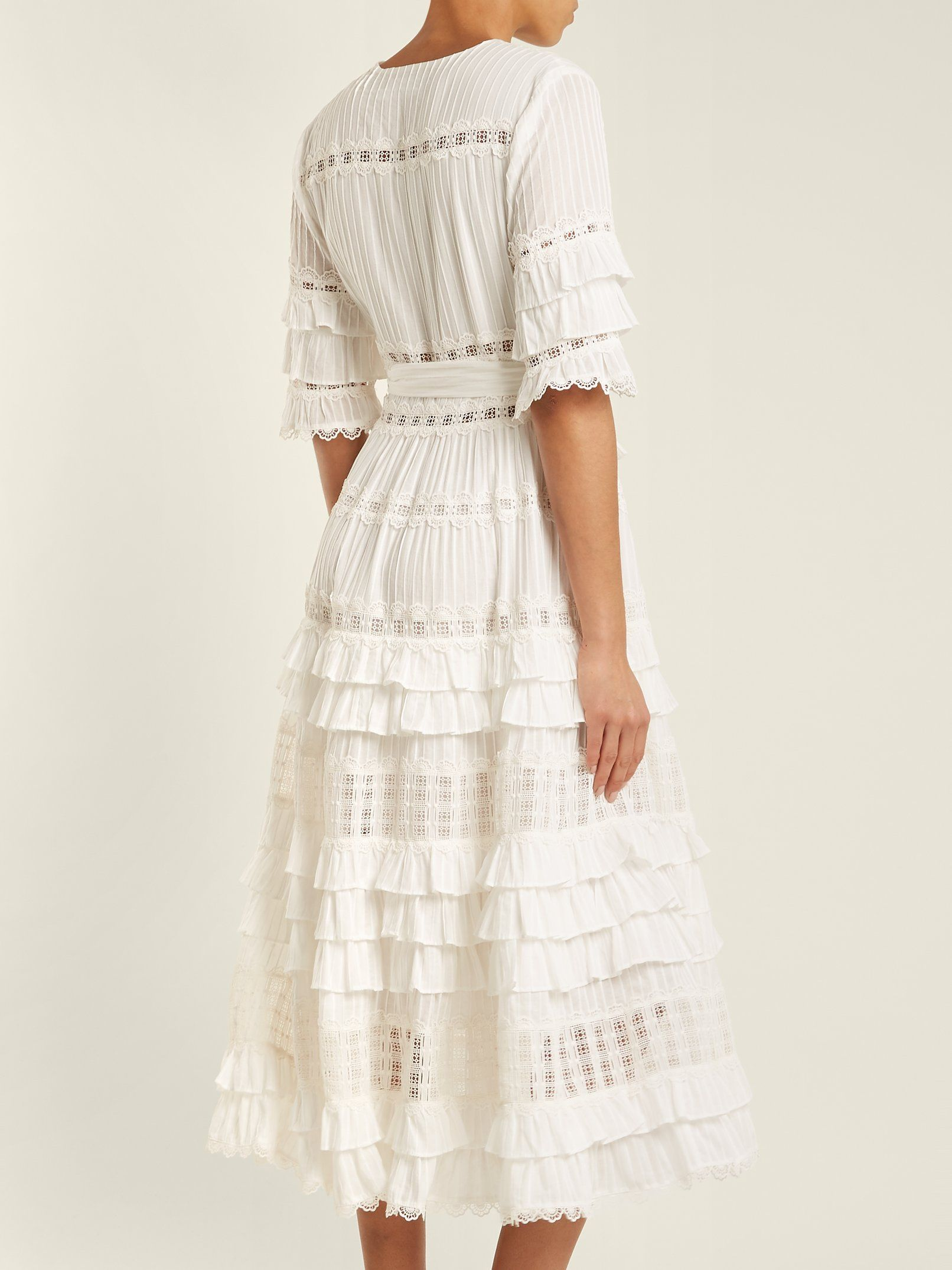 Corsail lace-insert cotton dress Zimmermann