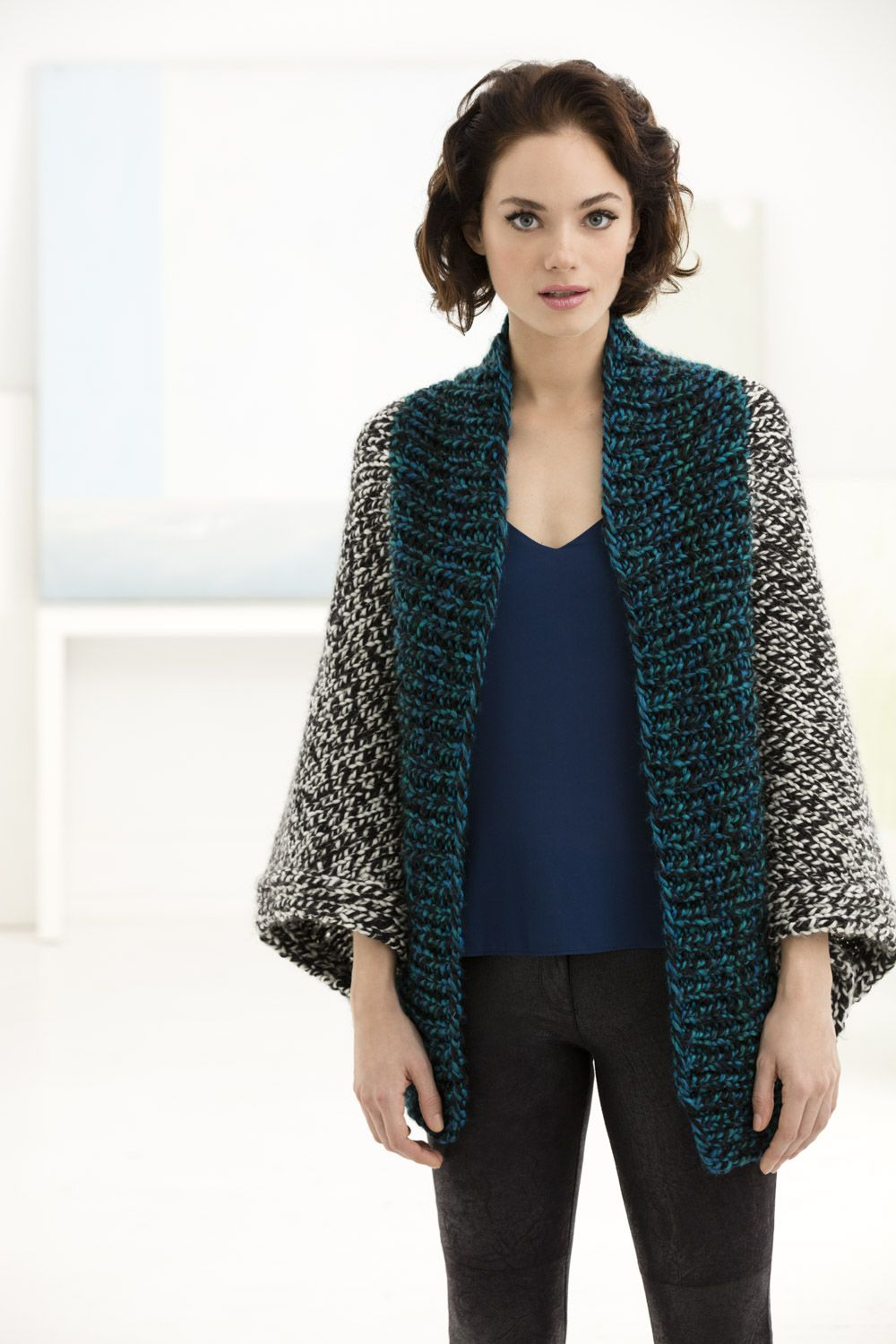 b481c9e33abba2 Make this easy   chic shrug with Lion Brand Country! Free knit pattern  calls for 4 balls of yarn (pictured in white mountains and kennebunk teal)  and size ...