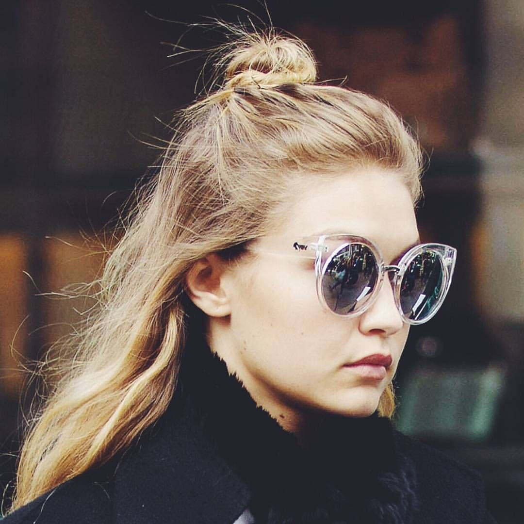 ☆ SPOTTED  @gigihadid just radiates model-off-duty cool in the Clear China Doll Sunglasses, hit the instashop to get yours! ☆