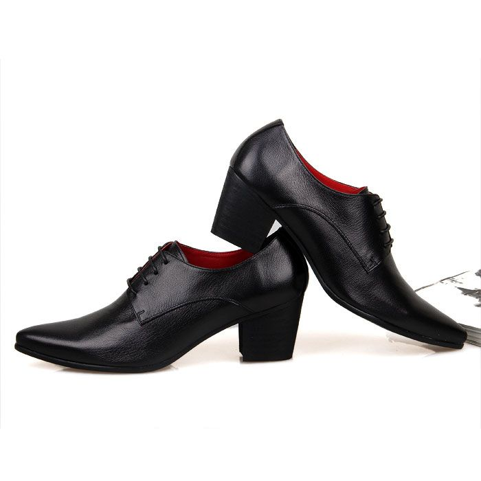 Mens Cuban Heel Lace Up Show Dress Formal Wedding Shiny Leather Pointy Toe Shoes