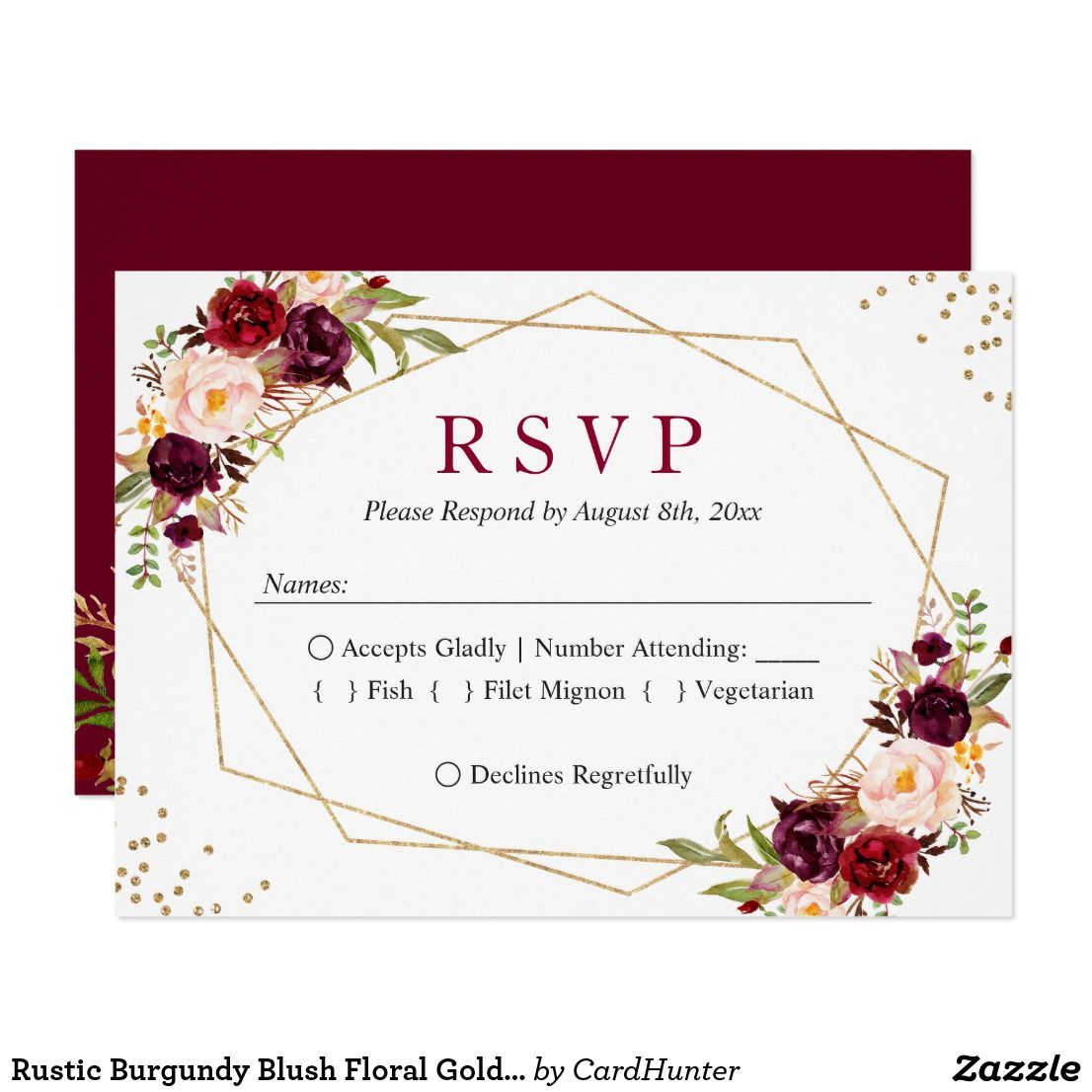 Rustic Burgundy Blush Floral Gold Glitters RSVP Zazzle