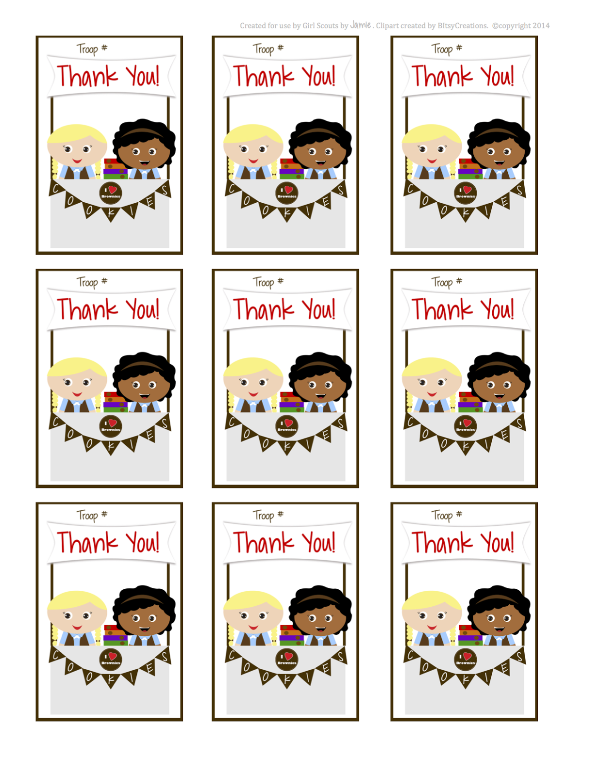 Fashionable Moms: Girls Scouts - Brownies Thank You Cards ...