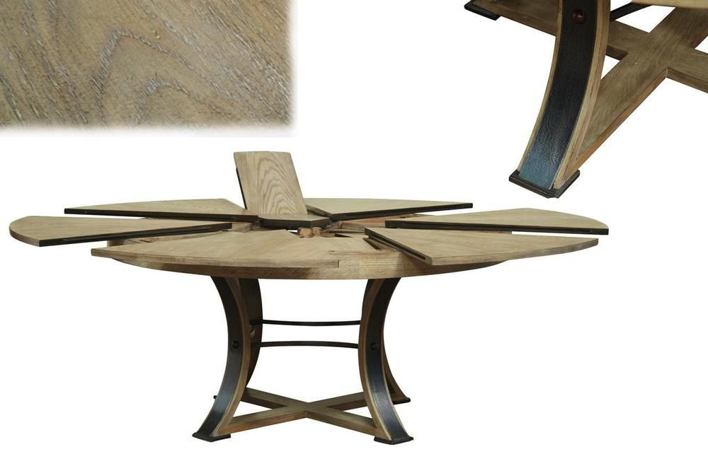 Details About Transitional Gray Oak Round Jupe Table With Self