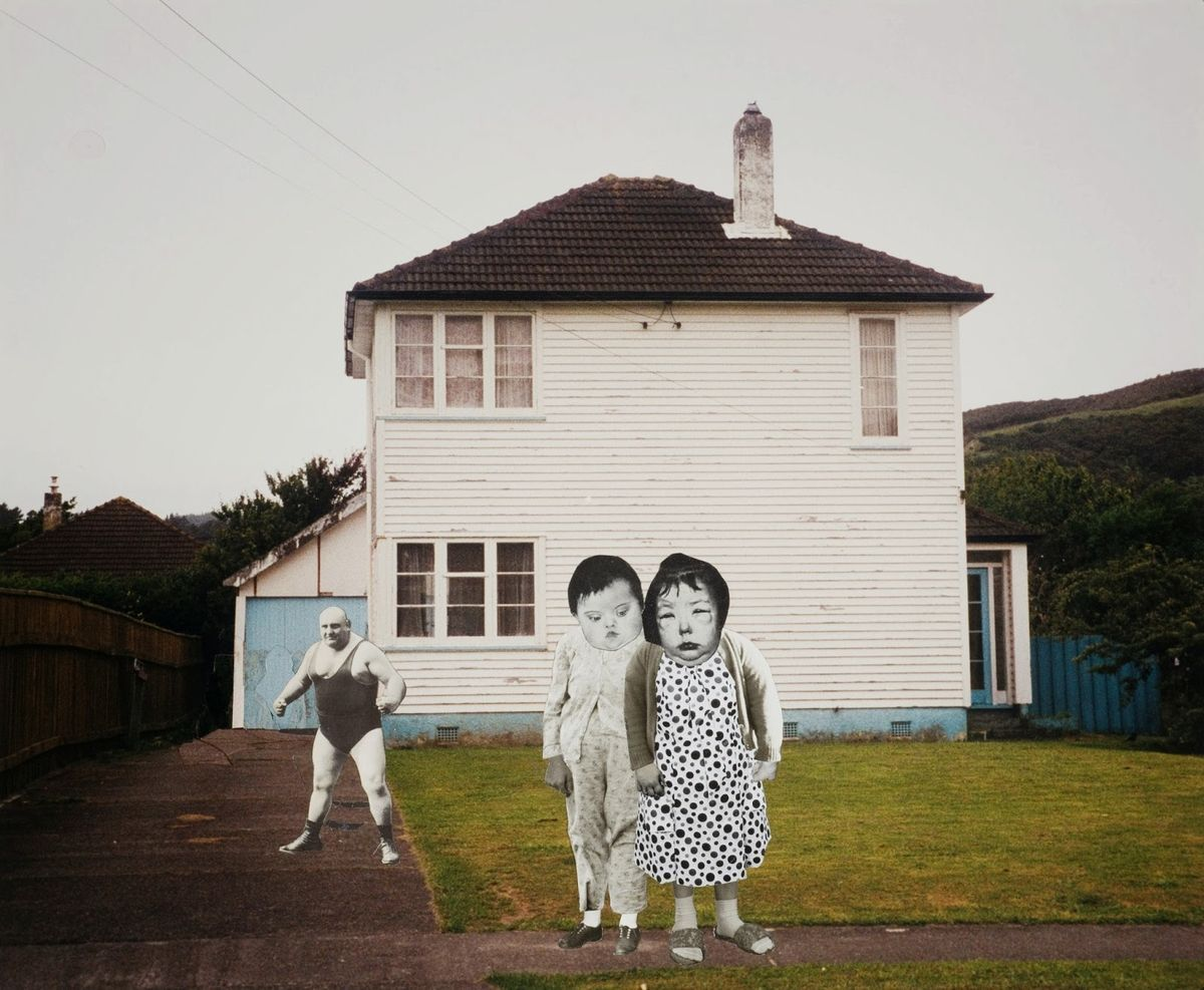 """Ava Seymour - """"Betty and Nancy Gordon"""" - Photocollage from """"Health, Happiness and Housing"""", 1997, New Zealand"""