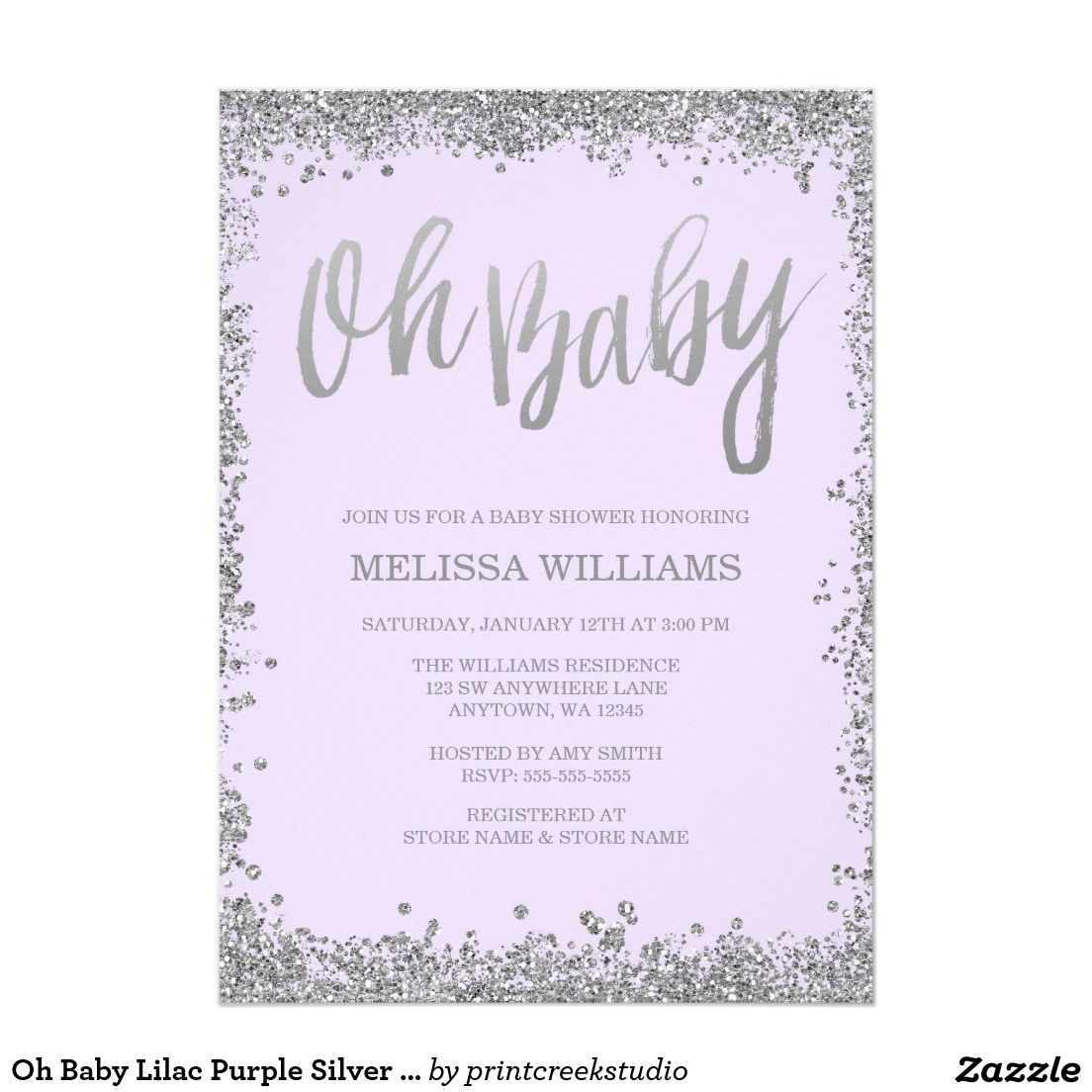 Oh Baby Lilac Purple Silver Glitter Baby Shower Card | Maureen\'s ...