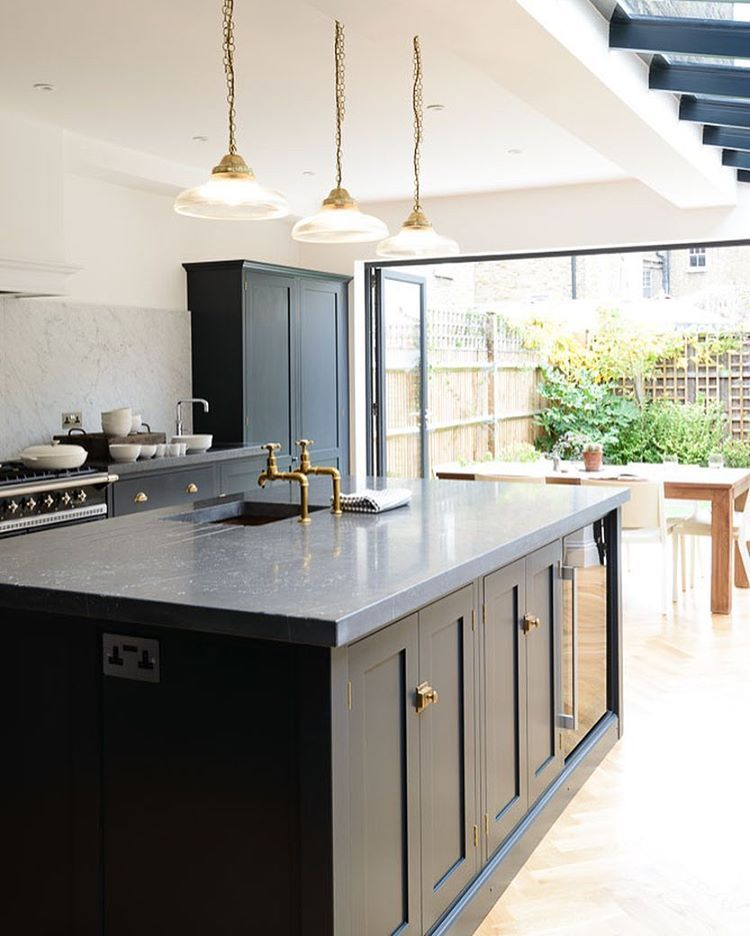 Blue Kitchen London: Thick Belgian Blue Limestone Worktops, 'Pantry Blue