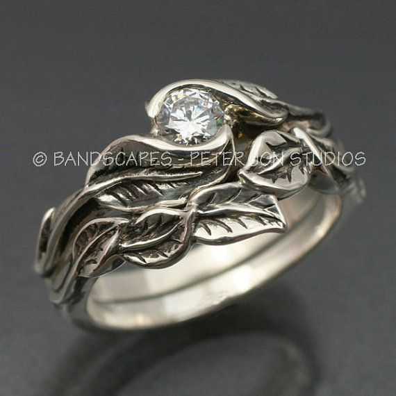 wedding ring set delicate leaf engagement ring with matching wedding band this set in sterling silver - Matching Wedding Ring Sets