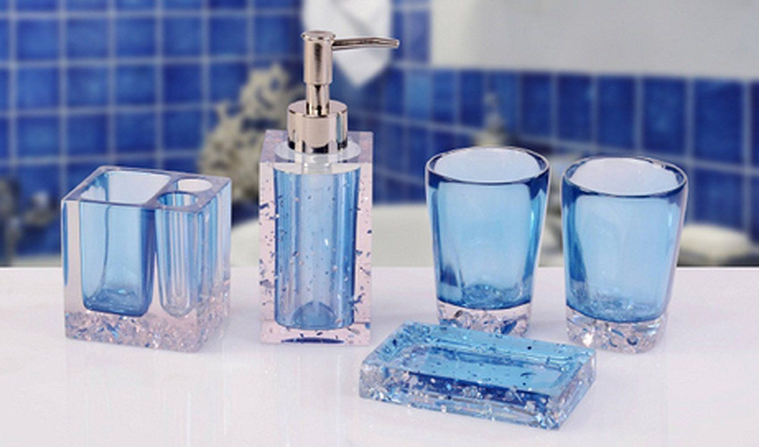 Amazon Com Amss 5 Piece Stunning Bathroom Accessories Set In Crystal Like Acrylic Tumbler Disp Bathroom Accessories Sets Acrylic Tumblers Bathroom Accessories