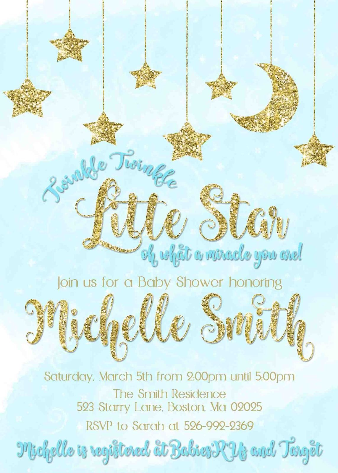 Twinkle Twinkle Little Star Baby Shower Invitation   Blue