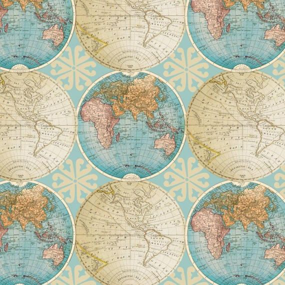 Vintage Globes Cotton Fabric By The Yard/map Fabric/world ...