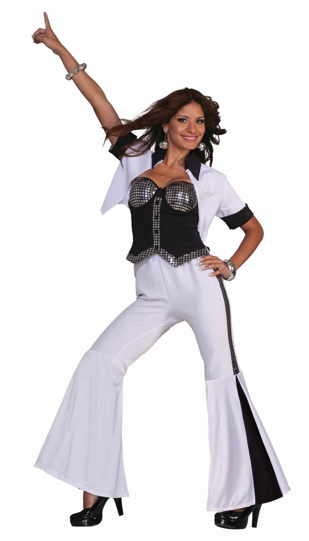 XL Ladies 1970s Dancing Fancy Dress Womens 70s Disco Fever Rainbow Costume S