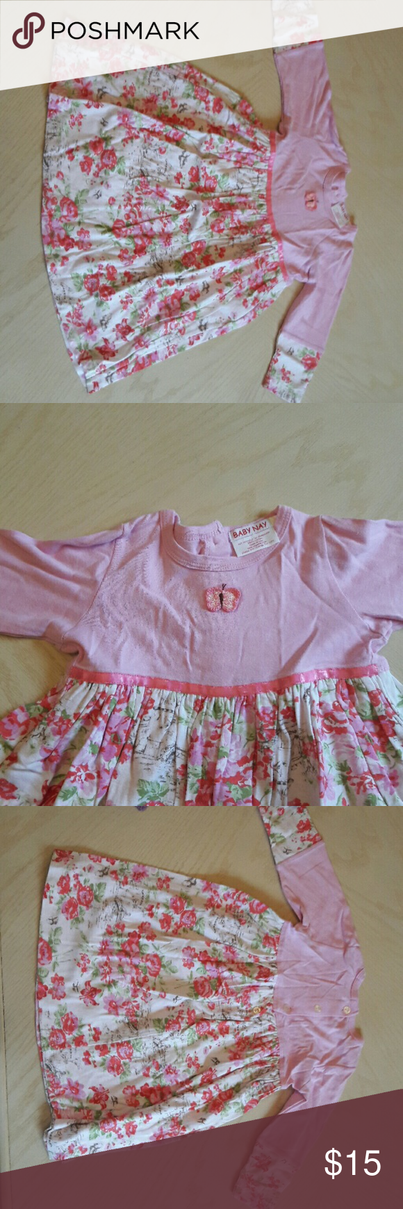 BABY NAY pink dress This adorable dress is perfect for the little girl in your life. It is 100% cotton and has a very cute floral pattern. The butterfly on the top half makes it that much cuter! Baby Nay Dresses Casual