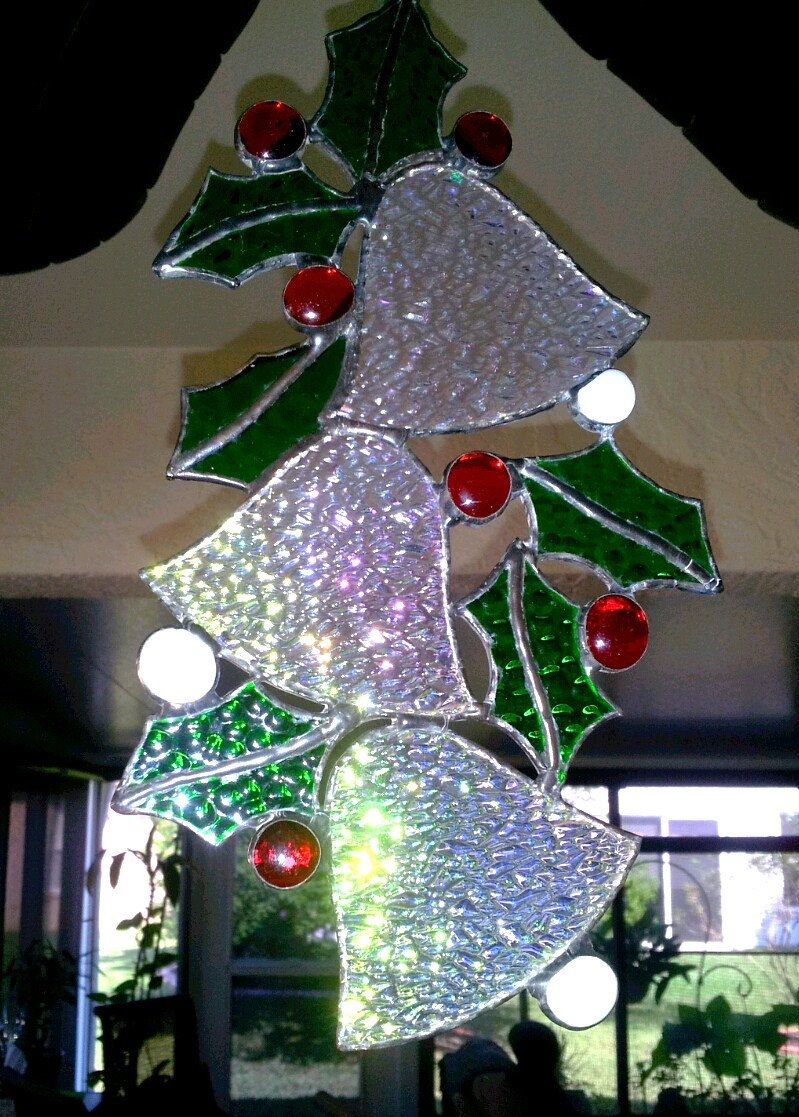Stained Glass Silver Bells and Holly - Christmas Decorations - Holiday Greetings - Suncatcher - Handmade Gifts - pinned by pin4etsy.com