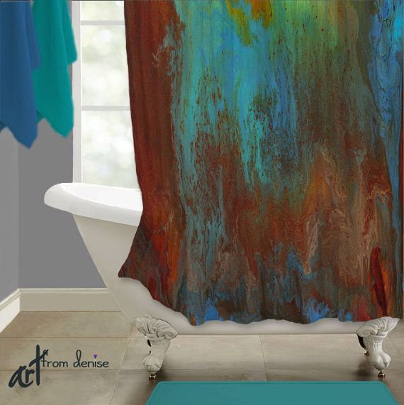 Colorful Fabric Shower Curtain Red Turquoise Teal Brown Master