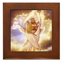 Angel Art Gifts: Seraph Angel Framed Tile: This Seraph Angel would be a nice angel art gift for someone who loves glorious heavenly holy Angels with six wings that are called the Seraphim angels of the throne of God.