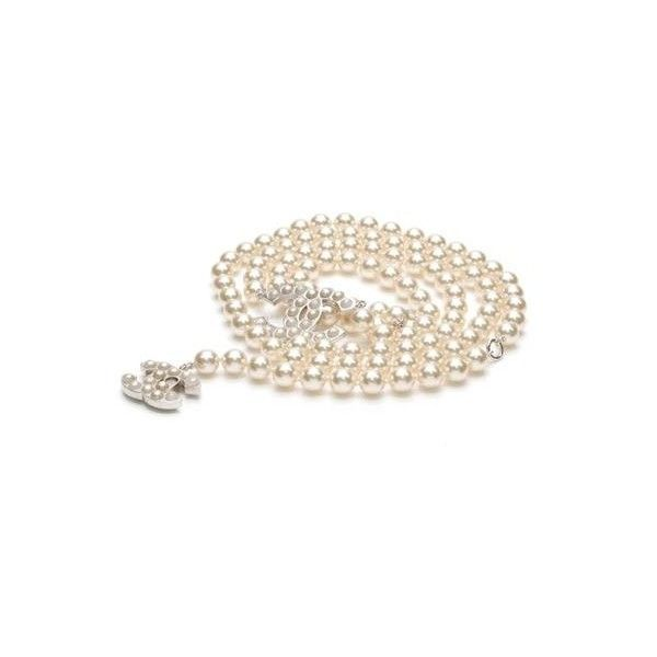 Pre-Owned Chanel Pearl Signature CC Belt - Silver Ivory (14.754.125 ... 5d66016624b