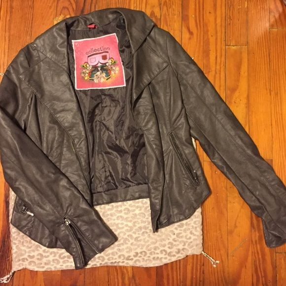 Great faux leather motorcycle jacket Grey faux leather motorcycle jacket. Feels super soft. Worn maybe twice. Excellent condition. No trades no PayPal. Collection Jackets & Coats