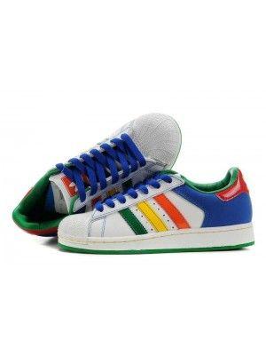 sports shoes 46269 9922a Adidas Superstar 2 Herr Blå Grön Vit SE690943