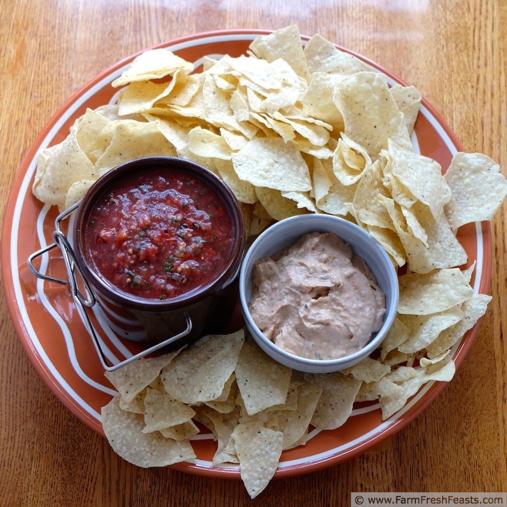 Fast and Easy 3 ingredient Bean and Hatch Chile Dip--roasted chiles, refried beans, and cream cheese. How easy is that?