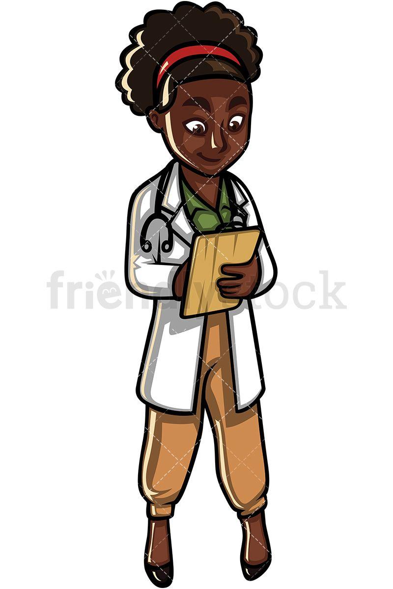 Black Female Doctor Cartoon Vector Clipart Friendlystock Female Doctor Cartoons Vector Nurse Vinyl Decals