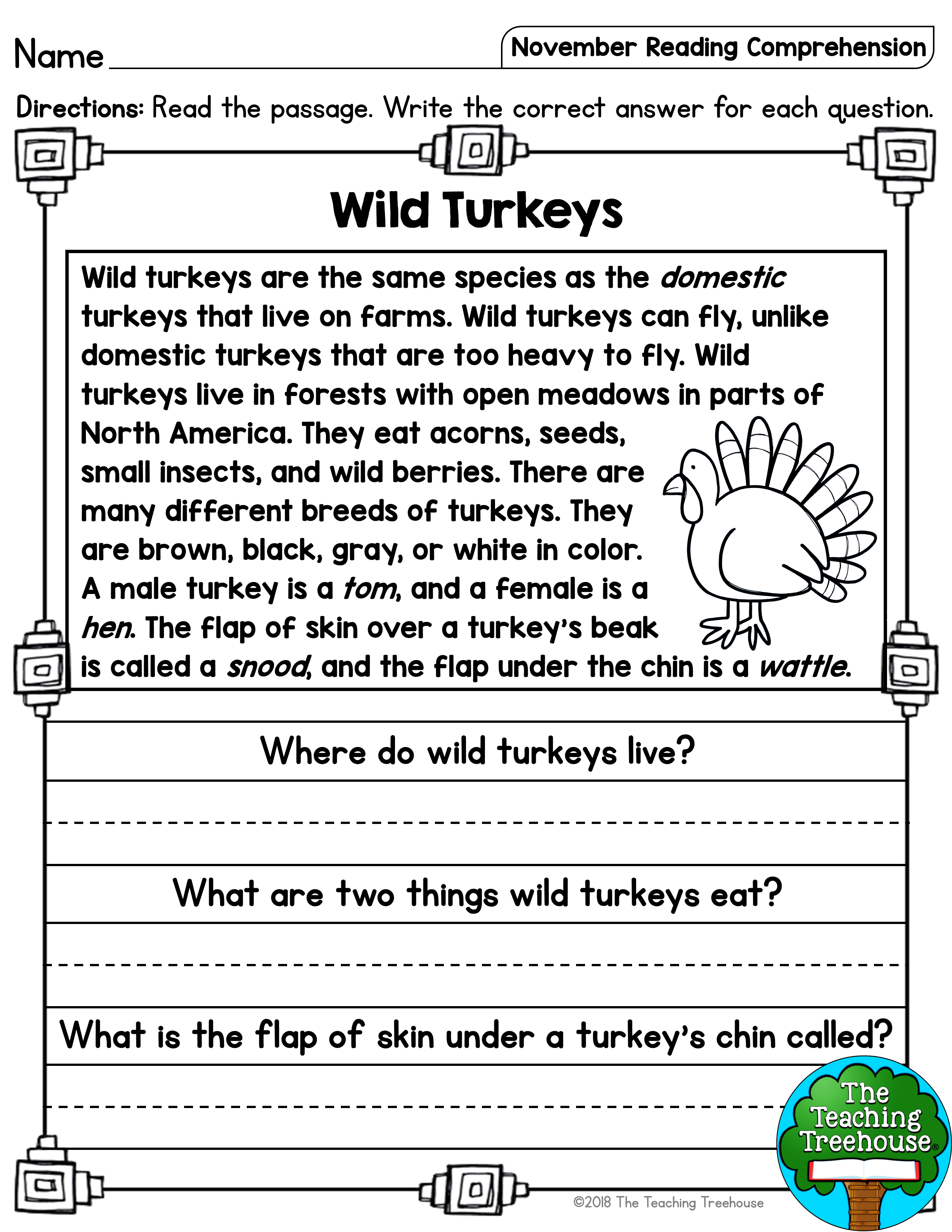 November Reading Comprehension Passages For Kindergarten