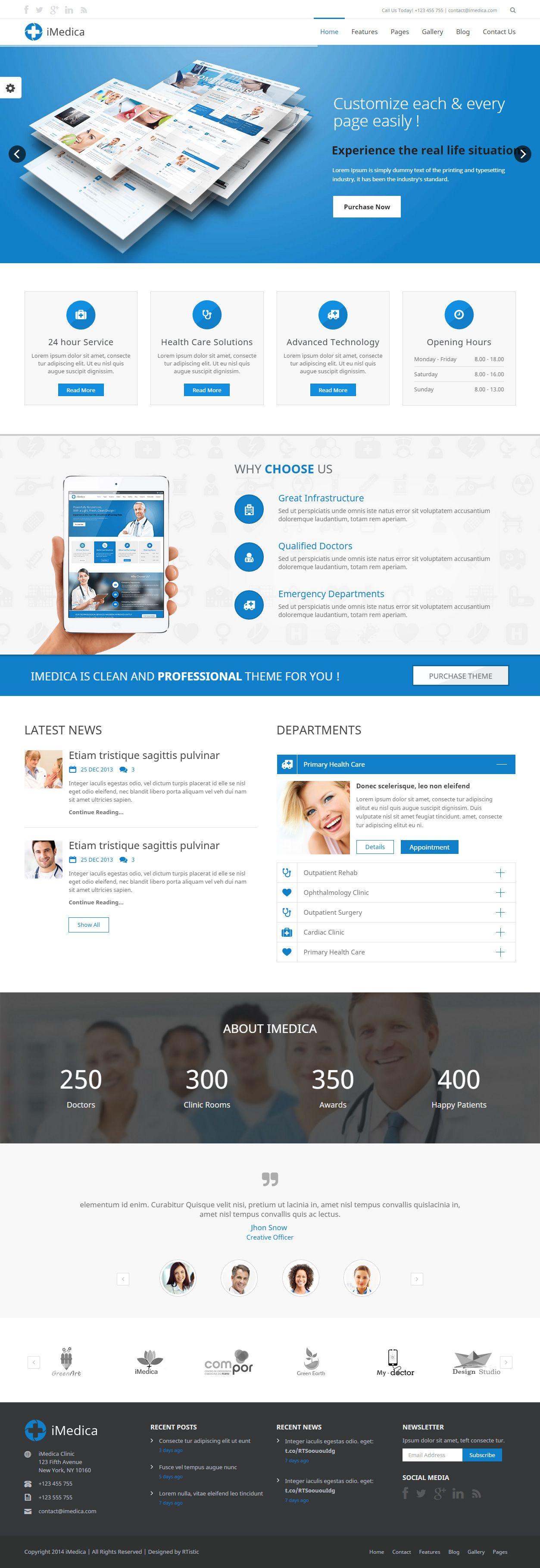 imedica is premium responsive retina html5 medical template