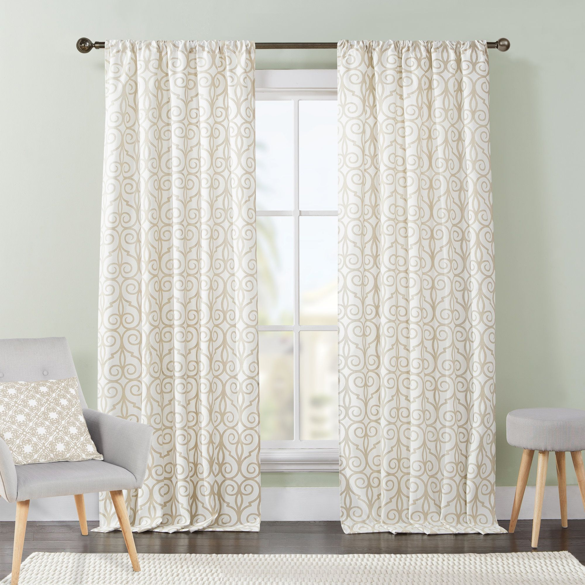 Popular window coverings  julianna scrolling rod pocket curtain panel pair  products