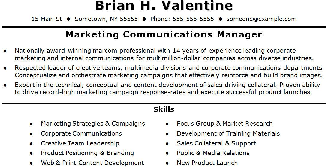 Marketing and Communications Resume Template Bond Cleaning - marketing communications manager resume