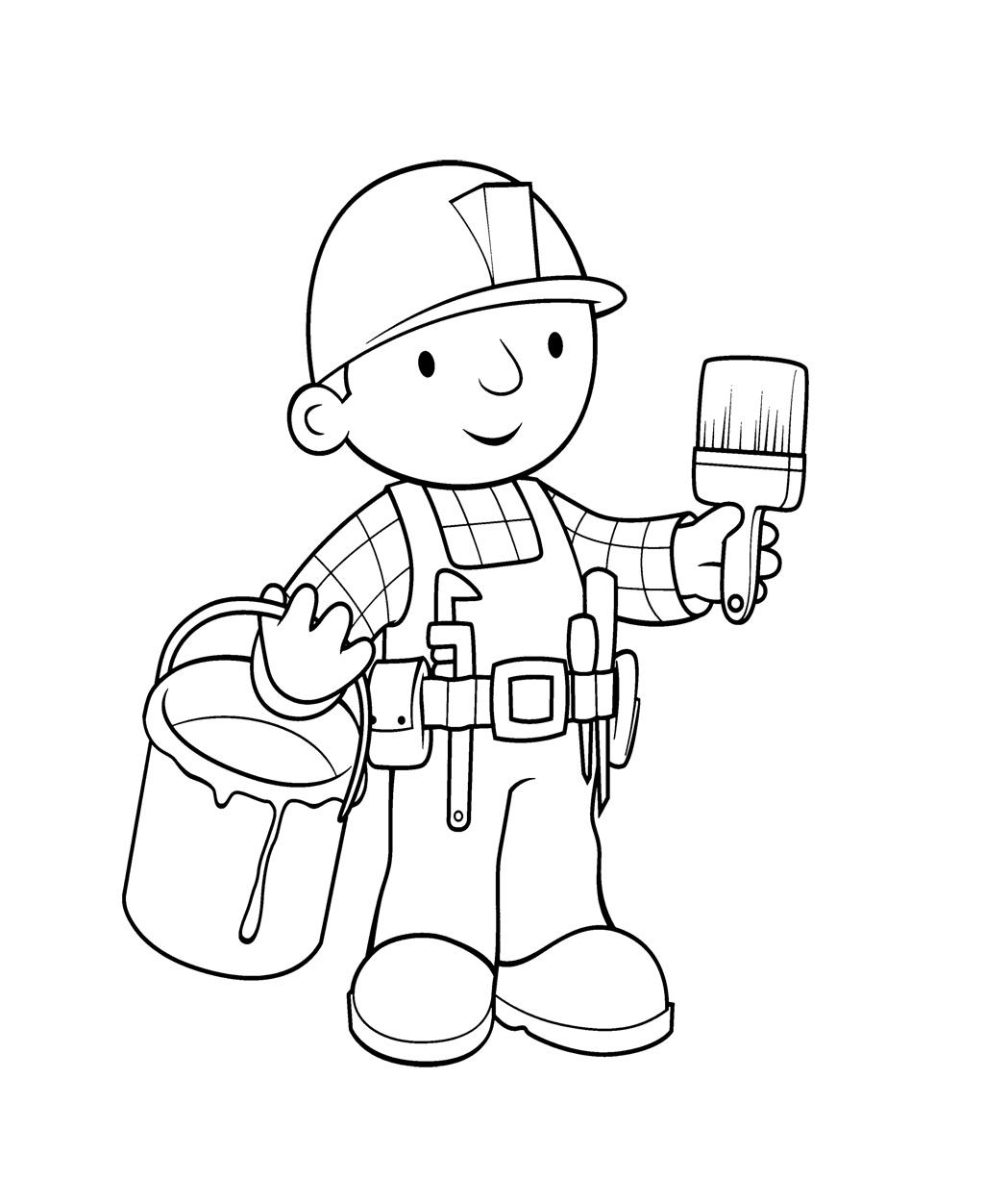 Bob The Builder And Paintbrish Coloring Page For Kids