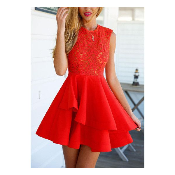 614c39fb34 SheIn(sheinside) With Zipper Lace Insert Flare Red Dress ($18) ❤ liked on  Polyvore featuring dresses, short dresses, red, sleeveless lace dress, ...