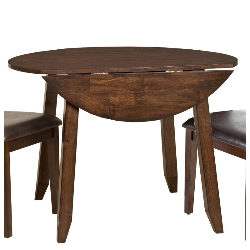 Raisin 42 Inch Drop Leaf Round Dining Table Kona Dining Table