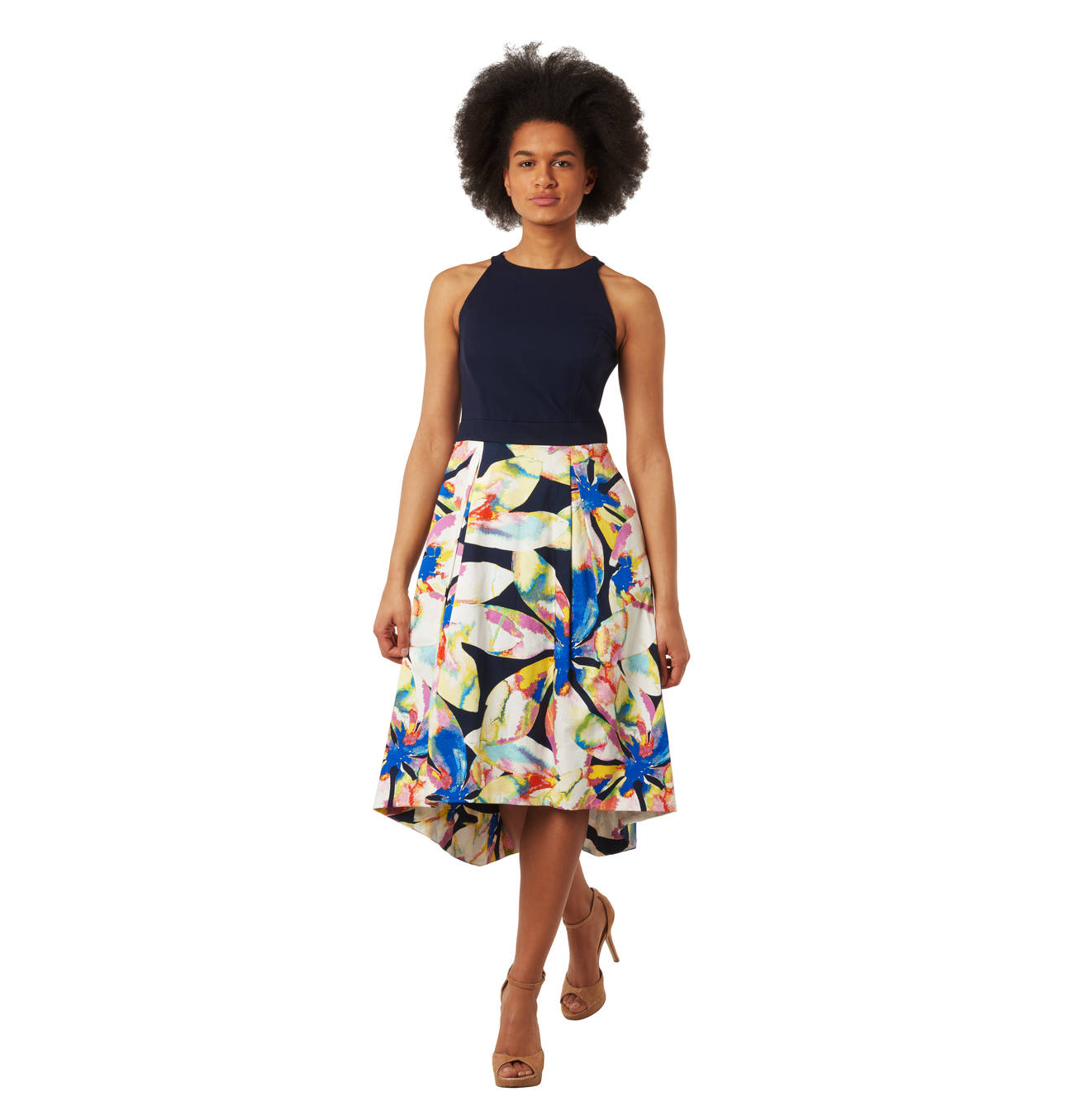 Kleid, ärmellos, Vokuhila-Schnitt, floraler Print ...