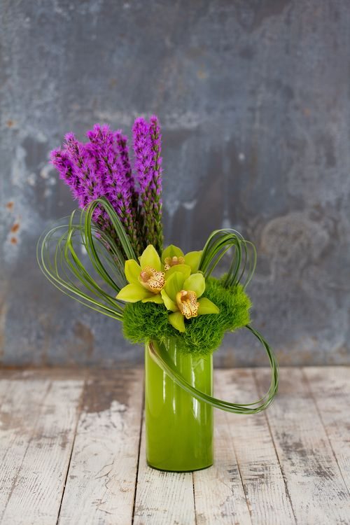 Seasonal Collection Green Glass Vase Flower Subscription Orchid Centerpieces